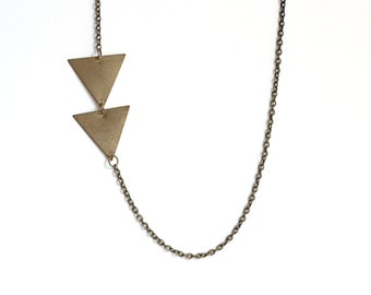 Brass Asymmetrical Arrow Necklace