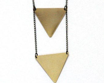 Brass Double Inverted Triangle Necklace