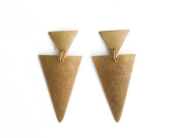 Brass Double Triangle Earrings