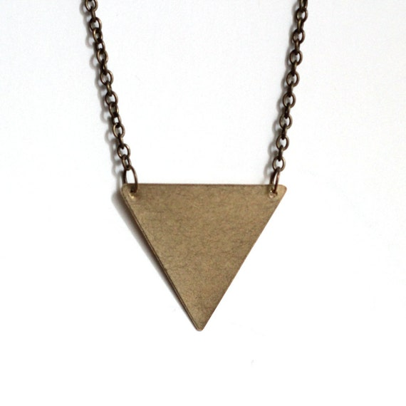 Brass Inverted Triangle Necklace