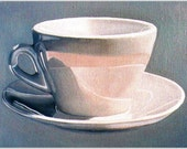 Coffee art, Art Print --Cup and Saucer--Print From Original Oil Painting, still life painting, coffee cup, coffee art, Kitchen Art.