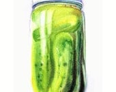 Kitchen Art Watercolor Painting--Pickles--Food Kitchen Decor, 8.5X11in. FREE SHIPPING. Green Pickled Cucumbers painting.
