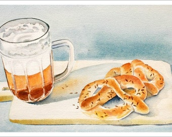 """ART """"Home Made Pretzels and a Brew"""" Beer watercolor painting, Print from Original Watercolor Painting, Food Kitchen Decor"""