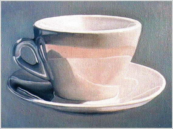 Art Print --Cup and Saucer--Print From Original Oil Painting, still life painting, coffee cup, coffee art. Kitchen Art.
