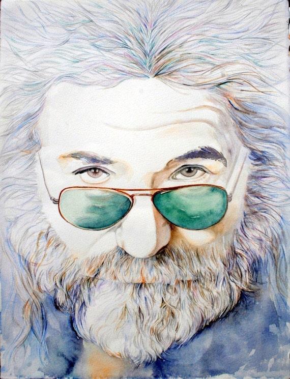JERRY GARCIA-Art Print of Original Watercolor Painting-Rock Music-Grateful Dead, watercolor portrait