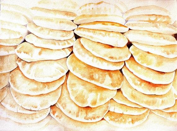 "Kitchen Art Watercolor Painting, ""Pile of Pita Bread"" Food Decor, kitchen ART"