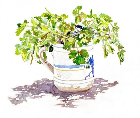 Kitchen art, Art Print-PARSLEY BOUQUET-From Original Watercolor Painting, green herbs, cilantro, food art