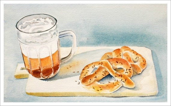 "ART ""Home Made Pretzels and a Brew"" Beer watercolor painting, Print from Original Watercolor Painting, Food Kitchen Decor"