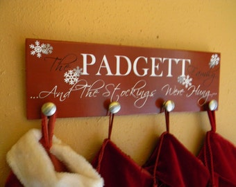 Custom Stocking Hanger Vinyl Wood Sign