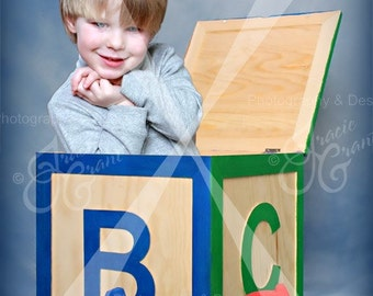 Child ABC Block Digital Background Photography Prop PSD File #87