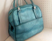 vintage soft sided carry all luggage bag blue