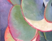 FLAPJACK ONE   original oil painting 30 x 40  x  1.5 inches by Yvonne Wagner. Kalanchoe. Succulent plant.