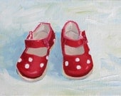 MY RED SHOES, 6 x 8 (15 x 20 cm) original oil painting on canvas panel by Yvonne Wagner. Polka dots. Red Shoes. Baby shoes. Sale. Shuhe.
