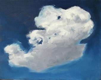 CLOUD VII, Framed original oil painting on hardboard. Original oil. Framed. By Yvonne Wagner. Skies. Nuages. 8 x 10  (20 x 25 cm)