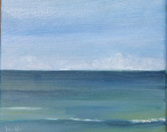 SALE,   La Mer  SEASCAPE THREE 6 x 6 x 3/4 inches on stretched canvas by Yvonne Wagner. Ocean. Sea. Atlantic. Sky.