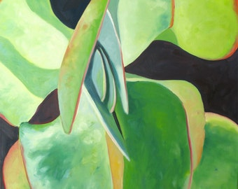 """FLAPJACK 2, original oil painting 28"""" x 30"""" x 1.5 ( 71 x 76 cm) by Yvonne Wagner. Kalanchoe. Succulent. One of a kind. Green."""