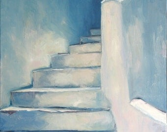 Greek Steps, Original oil painting. Yvonne Wagner. Greek steps. Greece. Stone stairs. 30 x 40 x 1.5 (76 x 102 cm) Free Shipping to USA.