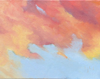 Abstract Clouds - Cloud painting. Original oil painting on canvas board by Yvonne Wagner. Framed 5 x 7 (13 x 18 cm). Ciel. Les Nuages. Sale.