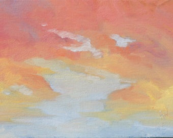 Reserved for Julie. Long Day, 6 x 8 (15 x 20 cm) original oil painting. Yvonne Wagner. Sunset. Clouds. Les Nuages. Wolken. Nuage. Cloud.
