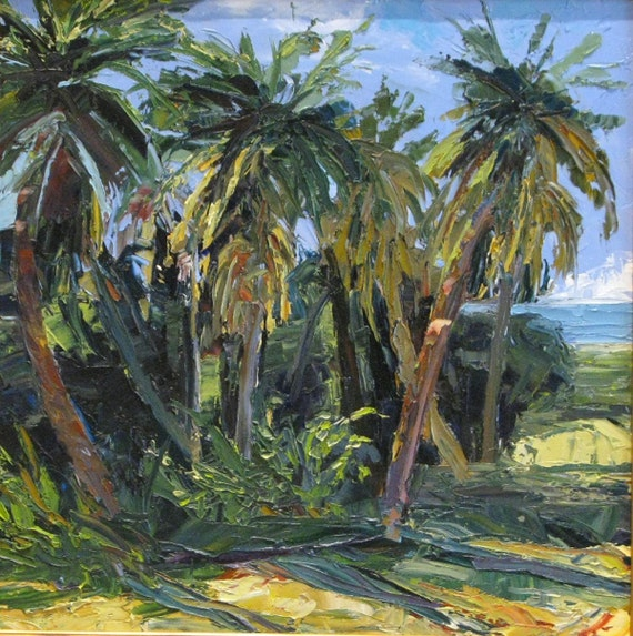 BREEZE, Original oil painting by Yvonne Wagner. Tropical. Landscape. Palm trees. Sea. Clouds. Custom framed, 24 x 24 x 3/4 inches.