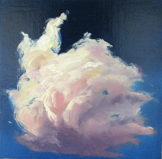 CLOUD I, 8 x 8 inch, original oil on hardboard painting by Yvonne Wagner. Les Nuages. Le ciel. Himmel. Free Shipping to USA.