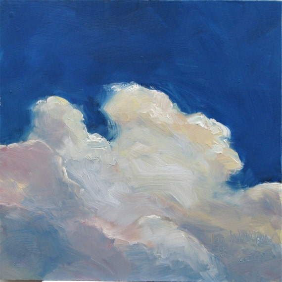 CLOUD XI     8 x 8 inches, an original oil painting on hardboard by Yvonne Wagner. Cloud Painting. Skies.