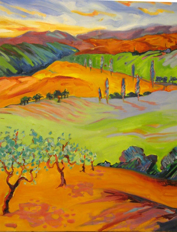 HILLS of TUSCANY,  original oil on canvas painting, 24 x 30 x 1.5 inches, colorful Landscape