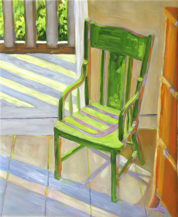 Cottage Chair. Original oil painting on canvas. Yvonne Wagner. Chair painting. Cottage art. Cottage. 23 x 28 x 3/4. Free shipping to USA.