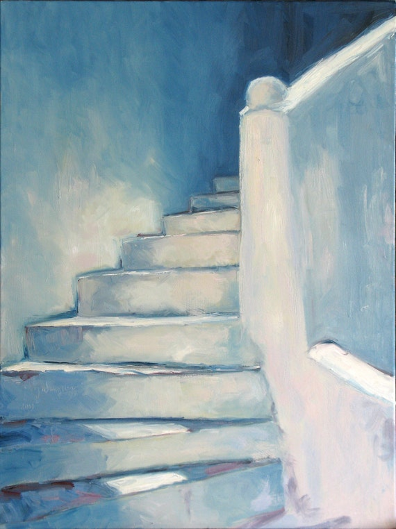 Greek Steps, 30 x 40 x 1.5 ( 76 x 102 cm) oil painting on canvas. Yvonne Wagner. Greek steps. Greece. Griechenland. Stairs.