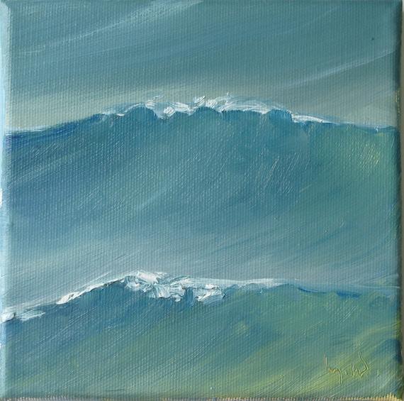 La Mer  SEASCAPE TWELVE   6 x 6  original oil on stretched canvas  by Yvonne Wagner. Sea. Waves. Ocean. Beach.