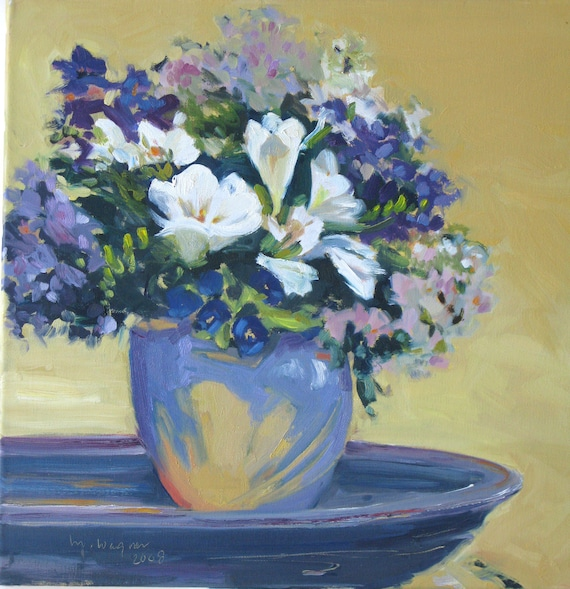 SPRING COLLECTION,  18 x 18 x 3/4 inch original oil painting by Yvonne V. Wagner. Flowers. Bouquet. Fleurs. Blumen. Garden.