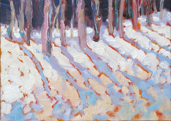 SNOW SENTINALS a 5 X 7 original oil painting on canvas board by Yvonne Wagner. Winter, Snow, trees,shadow