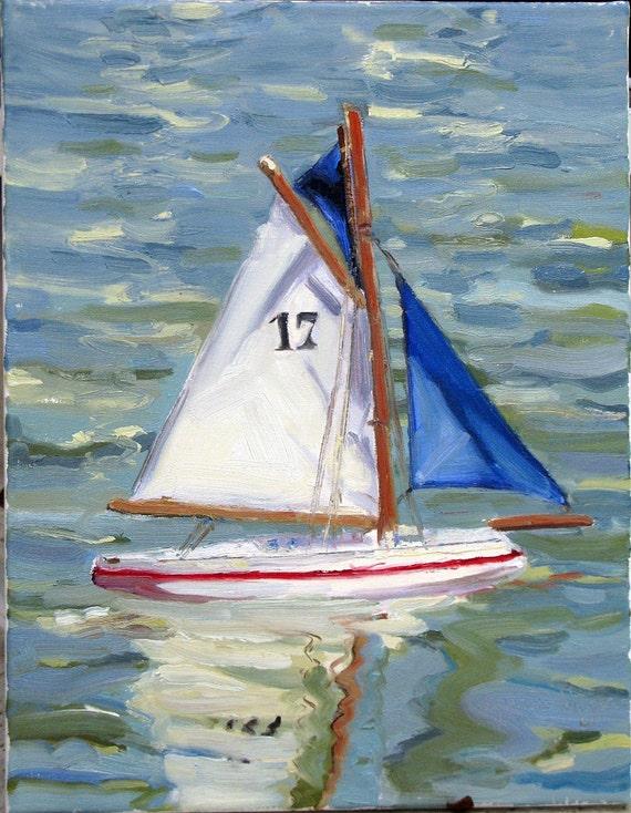 BATEAU 17  an original 14 x 18 inch oil painting by Yvonne Wagner. Sailboat. Bateaux du Luxembourg. Paris. Boat. Segelboot.