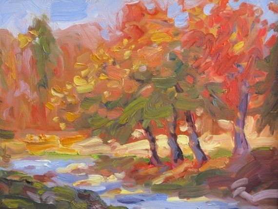 AUTUMN RIVER, original oil on canvas painting, 14 x 11 x 3 /4 inches, unframed.