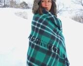 Vtg 1950s Green Plaid Wool Blanket