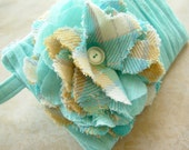 Ruffly Zippy Flower Clutch - Turquoise Aqua