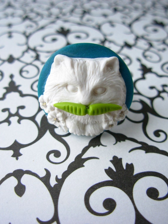 Mustache Kitty Ring - Cameo Teal/Green