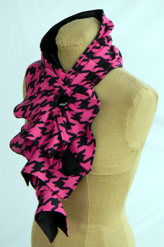 Ruffle Bow Scarf - Hot pink/Fuchsia Houndstooth
