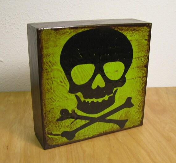 Green Skull Wood Art Block Painting--MatchBlox-947