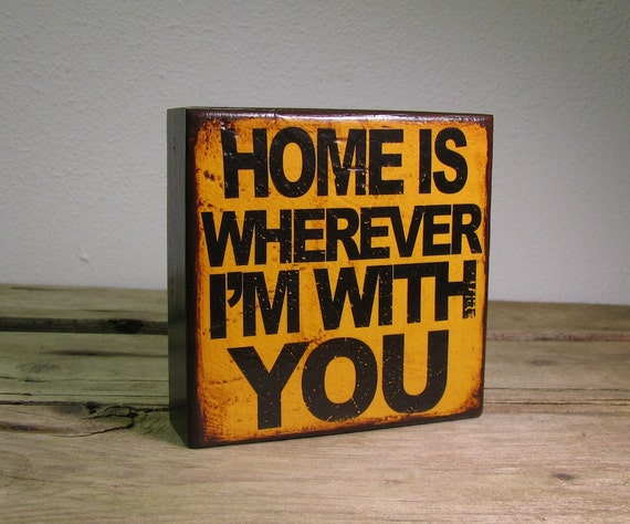 Inspirational Music Art Block Painting- Home Is Wherever Im With You - 1315