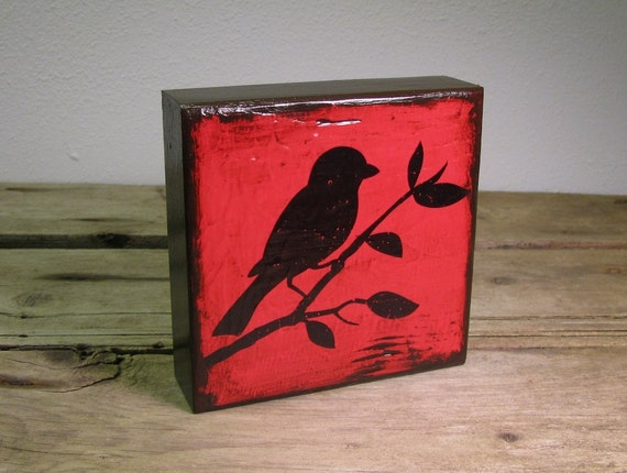 Bird Silhouette Painted Art Block Wall Hanging  ---Mix and Match MatchBlox 1330