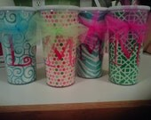 32oz Custom Acrylic Insulated Cup Tumbler made with your choice of Fabric and Monogrammed