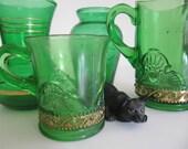 Vintage Green Shabby Vases