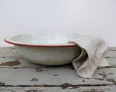 Red and White Enamelware Bowl