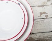 Red and White Enamelware Nesting Bowls