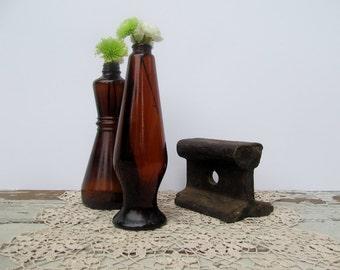 Brown Rustic Bottles Amber Glass Vintage