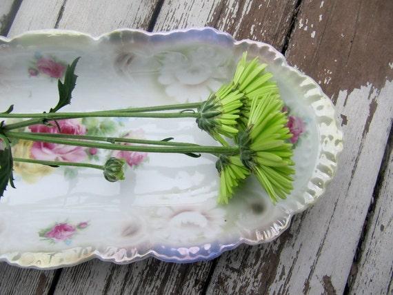 Long Bavarian Shabby Pastel Floral Bowl