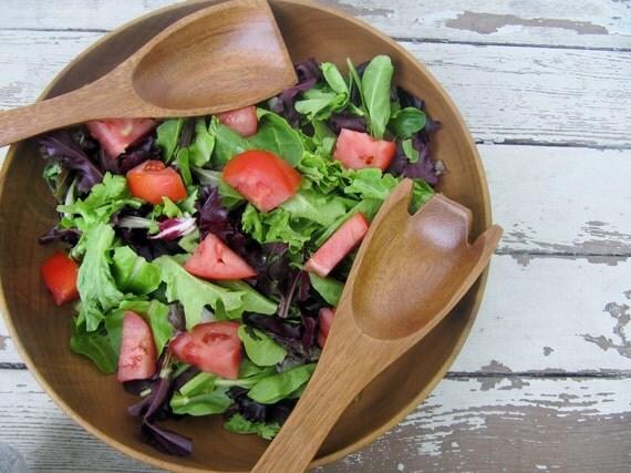 Large Vintage Wooden Salad Bowl