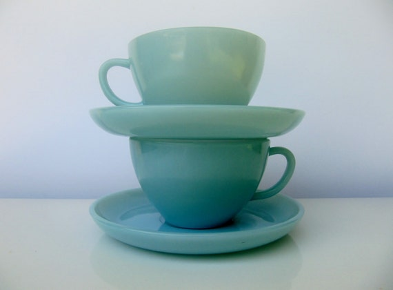 Pair of Fire King Turquoise Blue Cups and Saucers