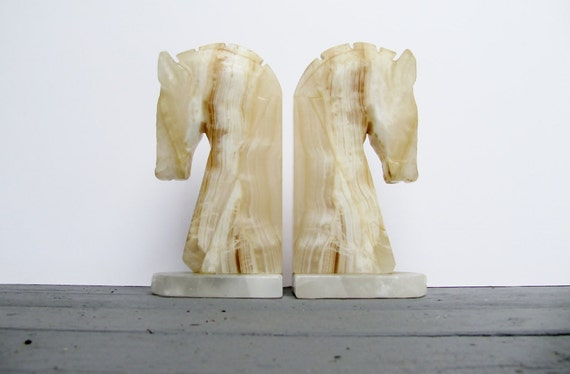 Vintage Horse Head Neutral Marble Bookends